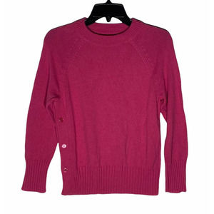 1901 Pink Button Side Crew Neck Sweater